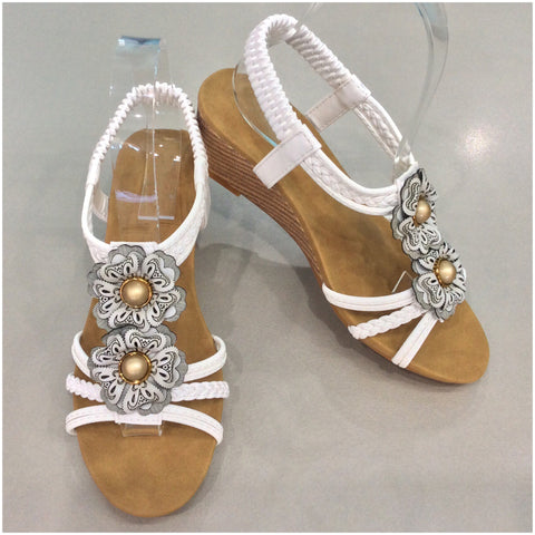 Florinda Flower Detail Small Wedge Sandals White