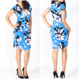 Teaberry Bold Abstract Floral Print Dress Blue