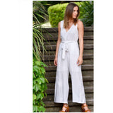 Silver Wishes Linen Striped Jumpsuit Beige
