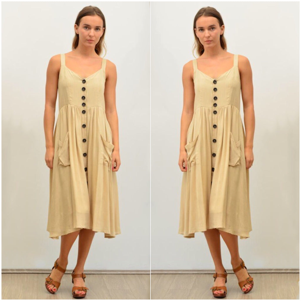 Silver Wishes Button Front Linen Dress Beige