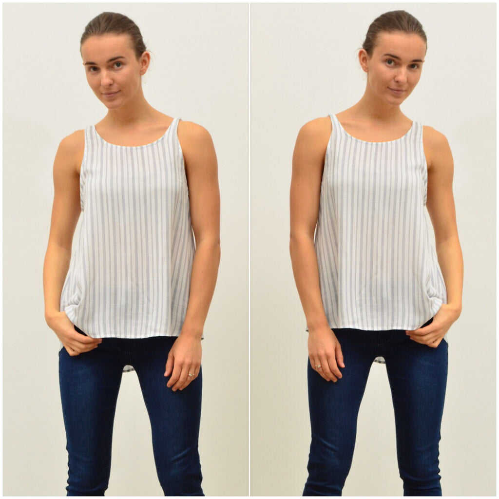1c60e25e4a0 Silver Wishes Striped Linen Singlet Navy – Hypnotic Fashion