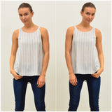 Silver Wishes Striped Linen Singlet Navy
