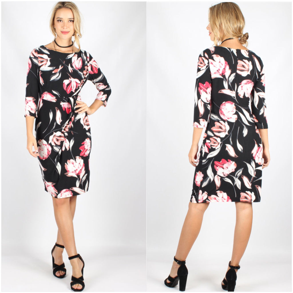 Teaberry Floral Print Long Sleeve Dress