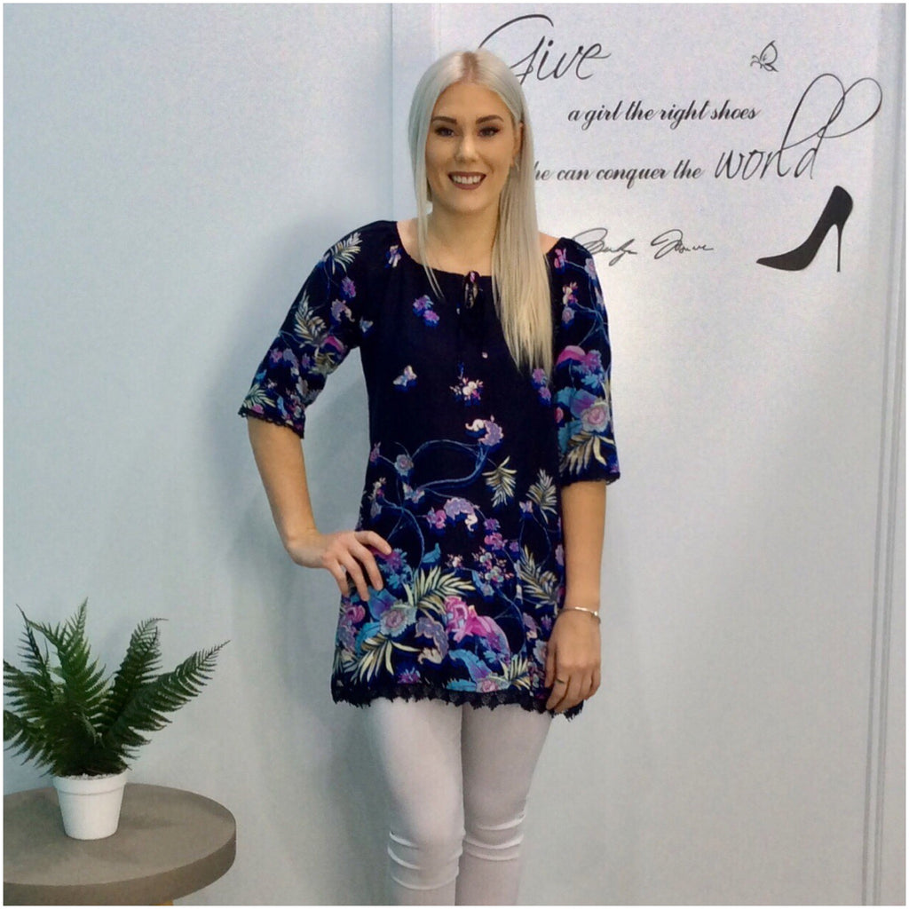 Missy Q Butterfly Floral Print Tie Neck Tunic Navy