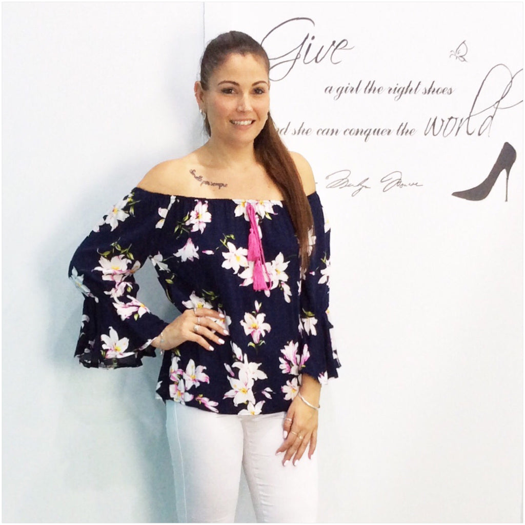 Missy Q Frill Sleeve Lily Floral Print Top Navy