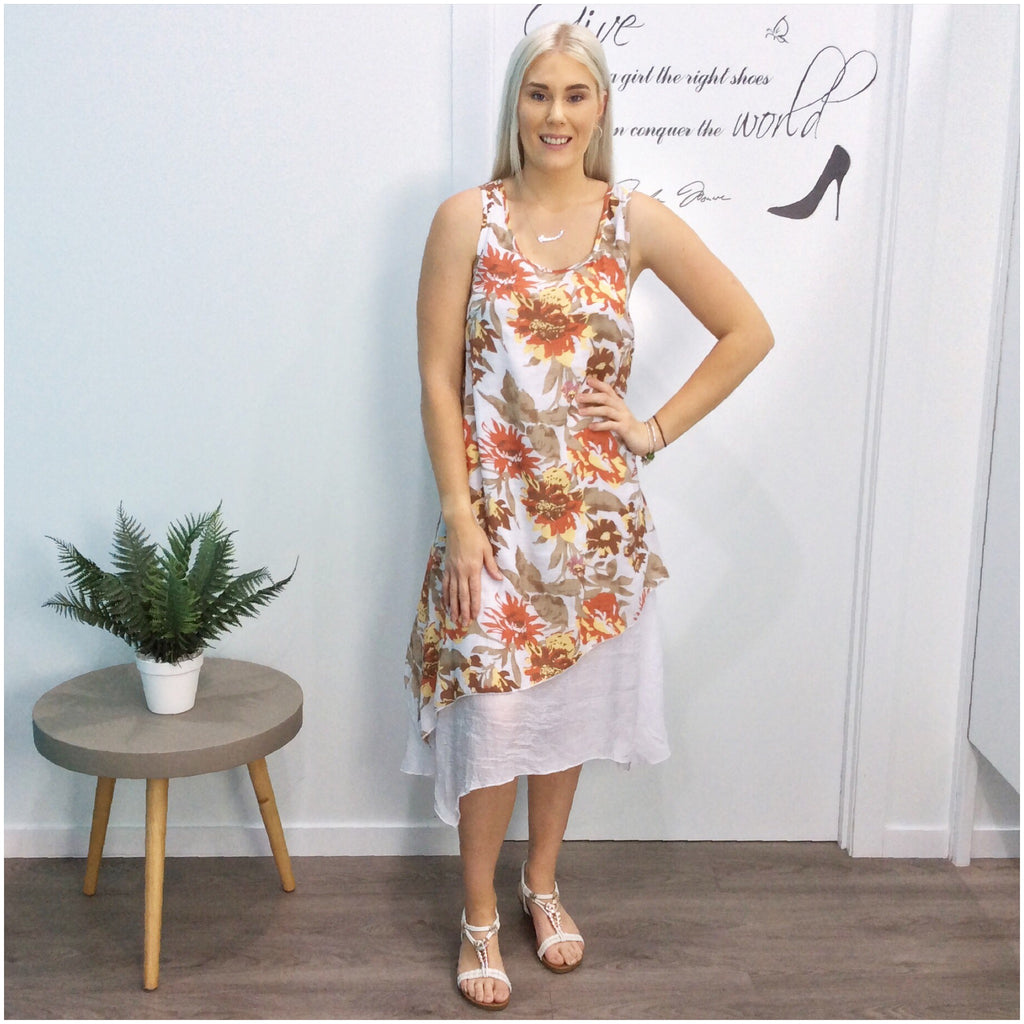 Missy Q Floral Leaf Print Layered Dress