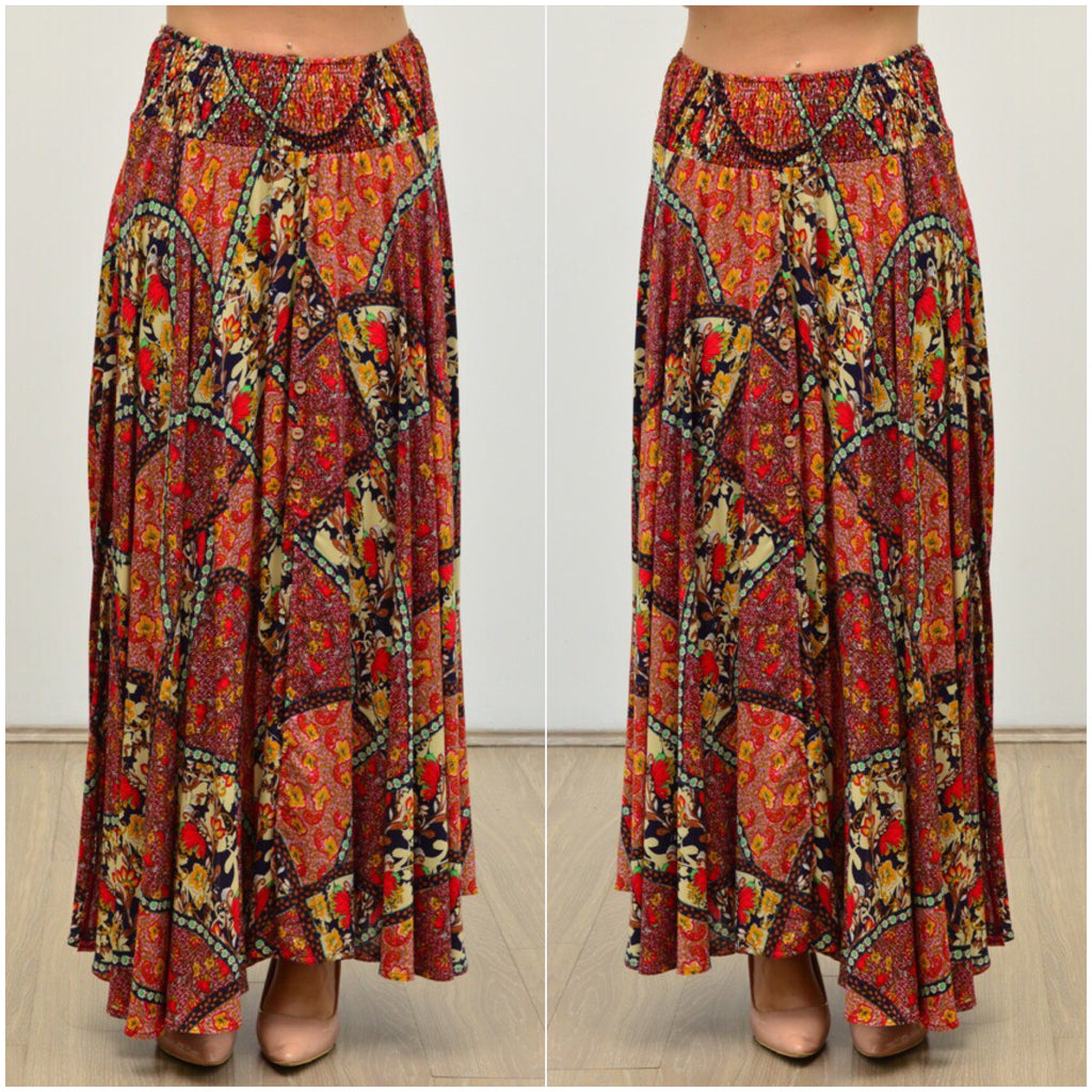 Willow Tree Floral Patch Print Button Front Skirt