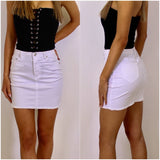Cali Denim Skirt White