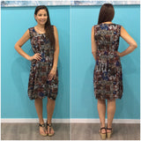 Missy Q Abstract Leaf Print Front Pocket Dress