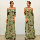 Silver Wishes Cold Shoulder Floral Crane Print Maxi Dress Khaki