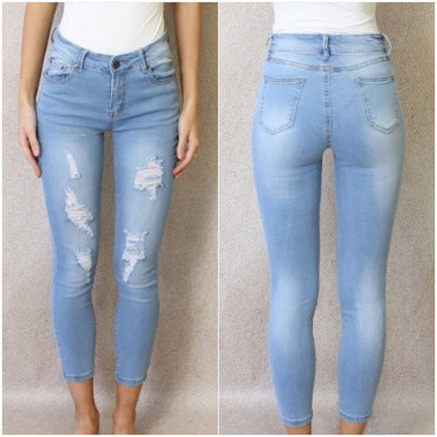 Wakee Daytona Distressed Denim Jeans Light Blue
