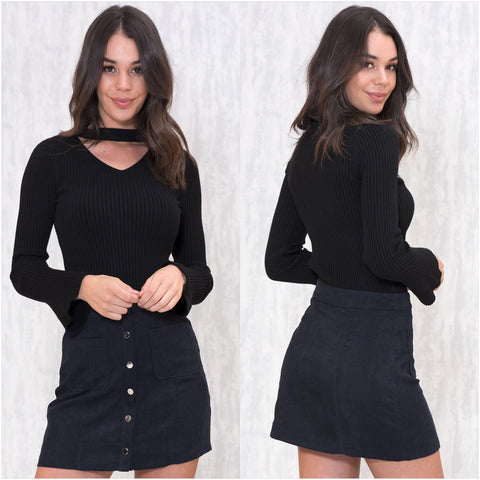 Jennifer V Neckline Ribbed Knit Jumper