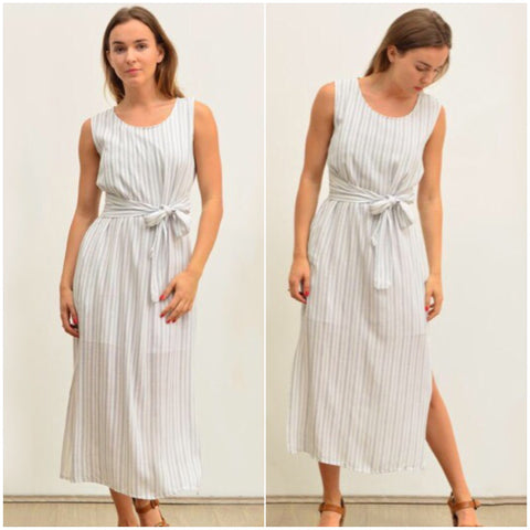 Silver Wishes Striped Linen Tie Waist Dress