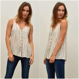 Silver Wishes Striped Print Button Through Top Beige