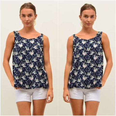 Silver Wishes Floral Print Singlet Navy