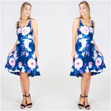 Third Love Rose Floral Print High Tea Dress Navy