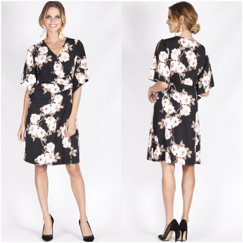 Teaberry Bold Floral Print Wrap Design Dress