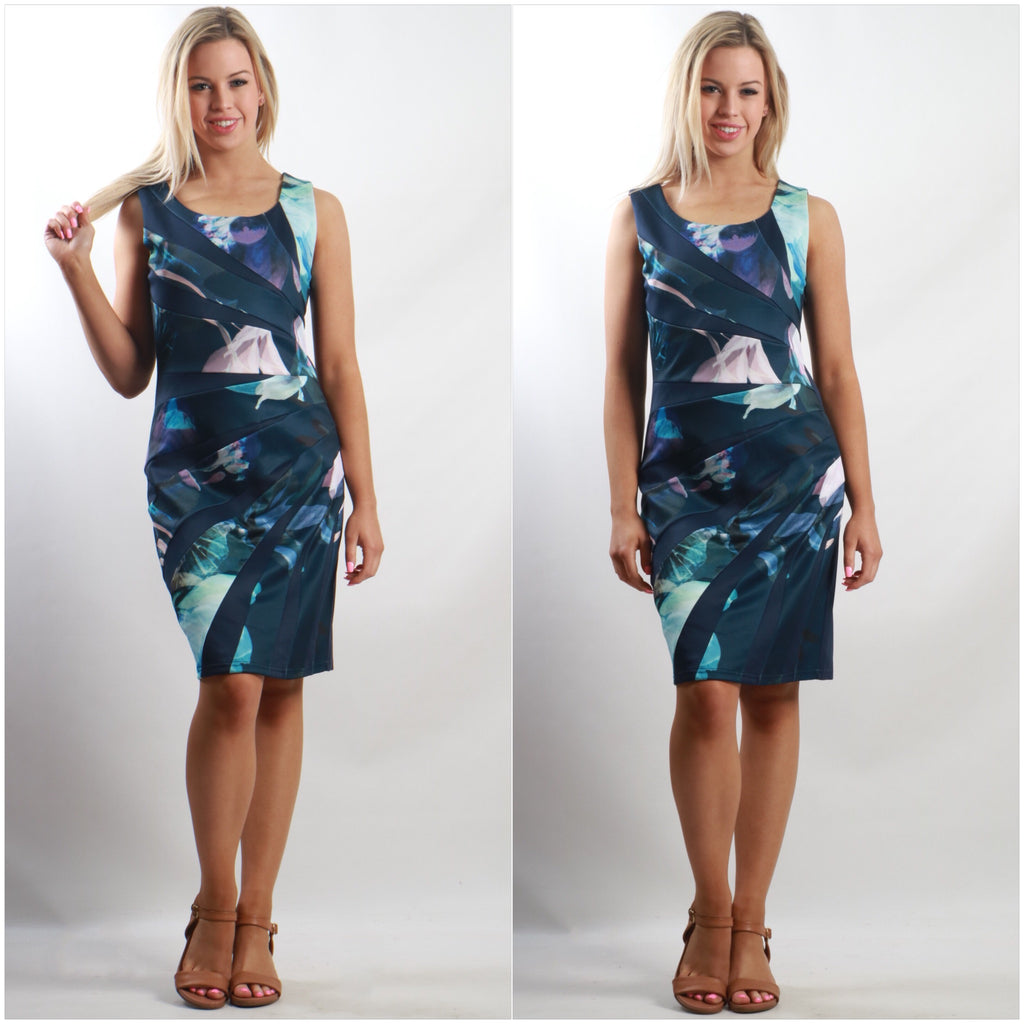 Teaberry Abstract Floral Spliced Dress Navy