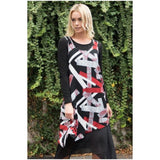 Missy Q Abstract Geometric Print Layered Dress Red And Black