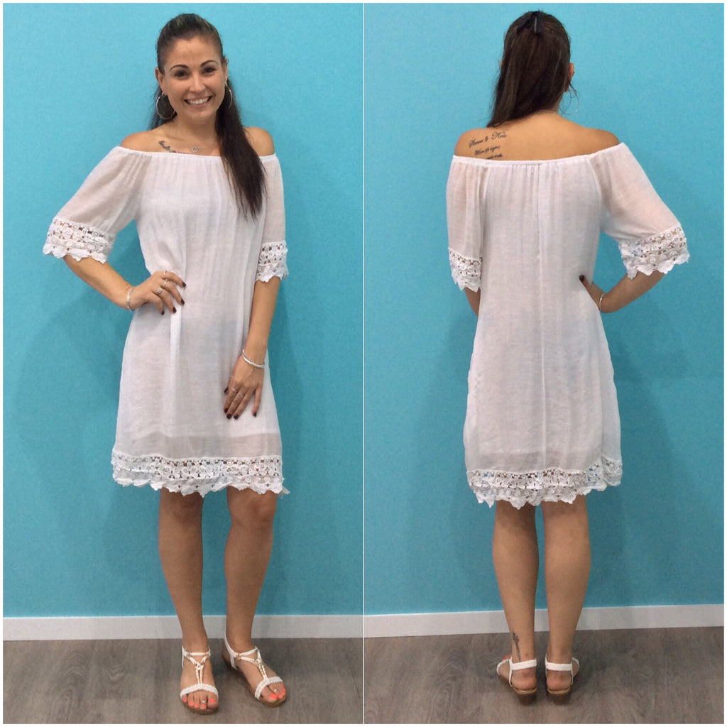 Missy Q Lace Trim Dress White