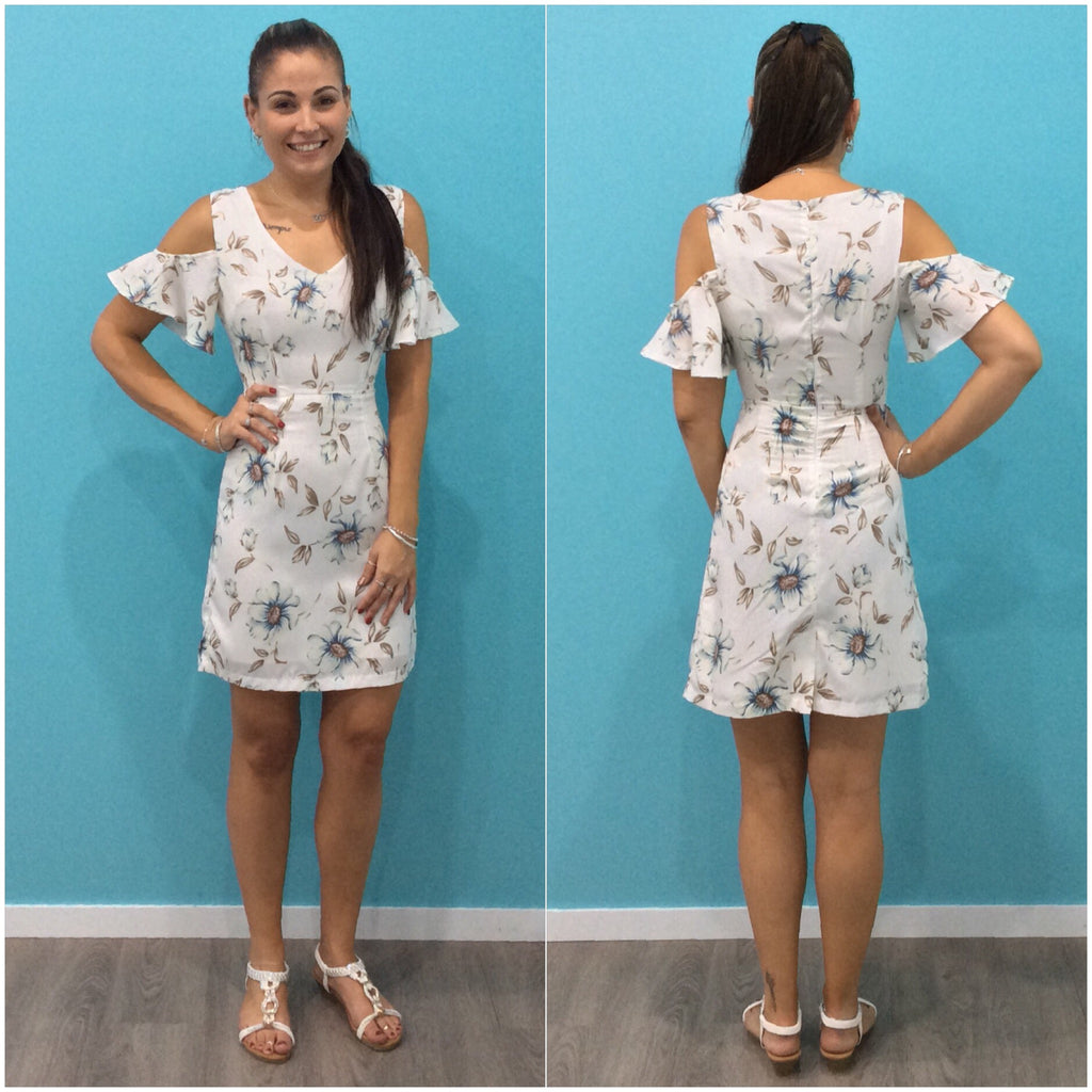 Tilly Floral Print Cold Shoulder Dress White