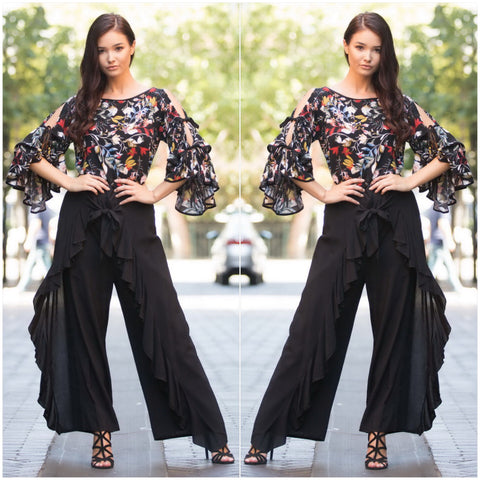 Missy Q Frill Trim Wrap Pants Black