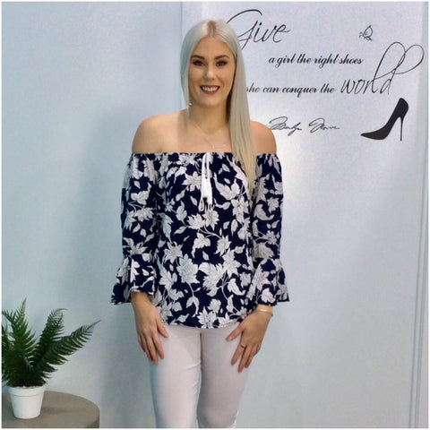 Missy Q Frill Sleeve Floral Vine Print Top Navy