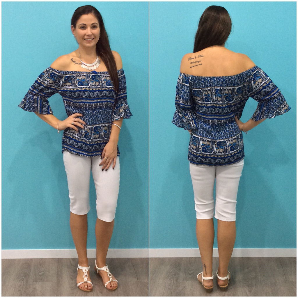 Missy Q Frill Sleeve Abstract Elephant Print Top Blue