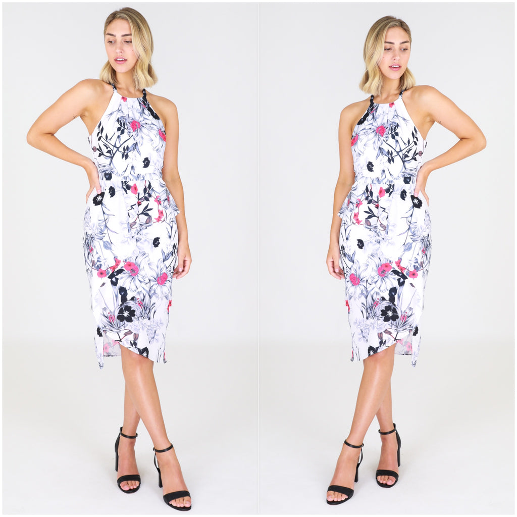 Third Love Floral Outline Print Peplum Dress