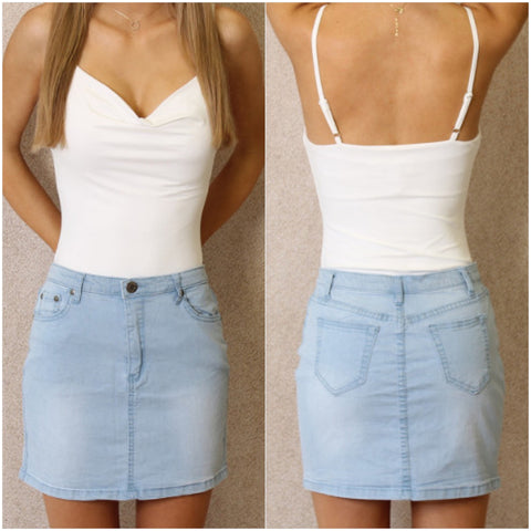 Laguna Beach Denim Skirt Light Blue