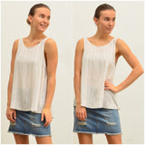 Silver Wishes Striped Linen Singlet Mocha