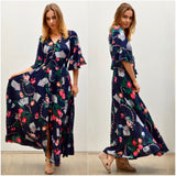 Silver Wishes Floral Chain Print Frill Sleeve Maxi Dress Navy