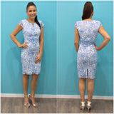 Mei Mei Floral Pattern Lace Dress Blue