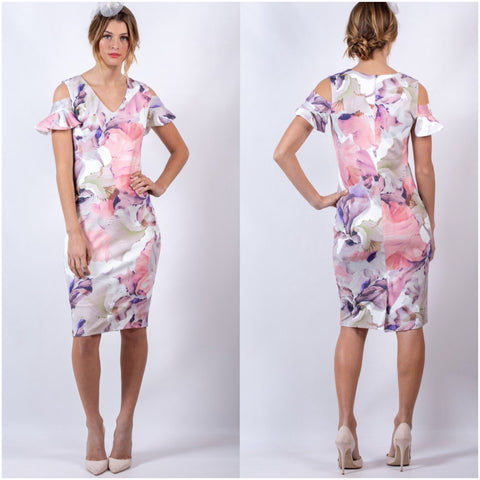 Teaberry Abstract Floral Print Cold Shoulder Dress