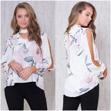 Zelly Floral Print Split Sleeve Top White