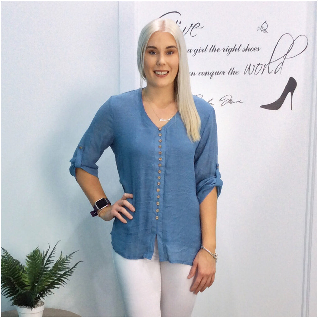 Missy Q Wooden Button Roll Up Sleeve Top Denim Blue