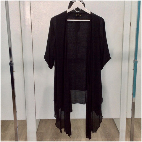 Quelque Open Layered Summer Cardigan Black
