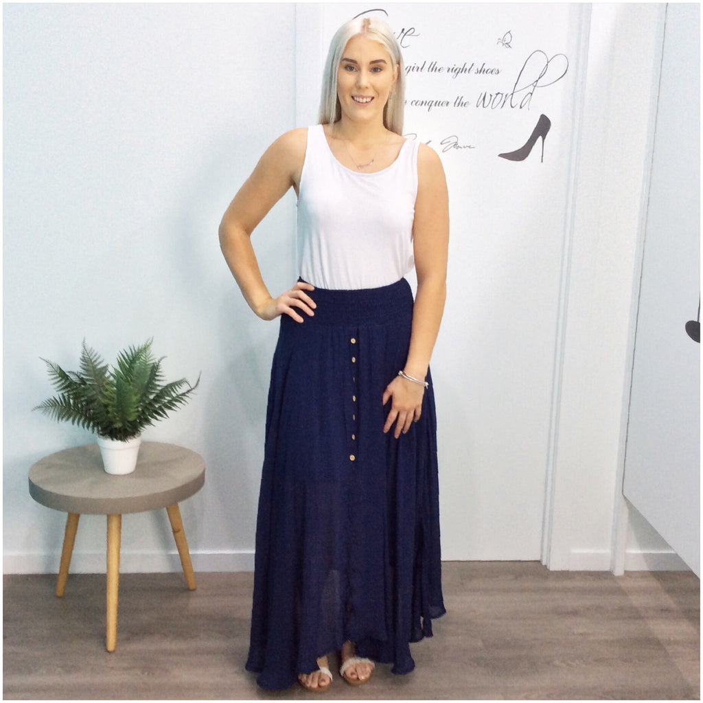 Missy Q Button Detail Maxi Skirt Navy
