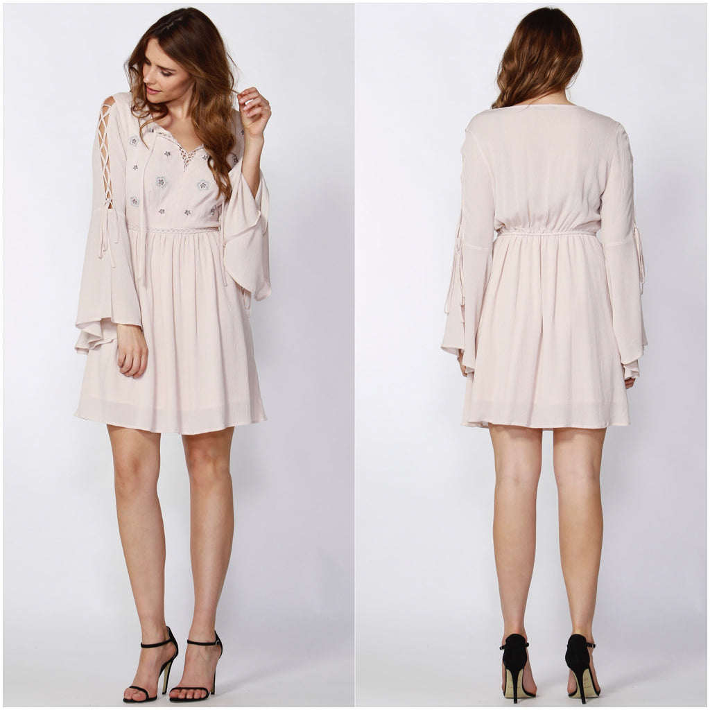 Sass Olivier Tie Bell Sleeve Dress Shell