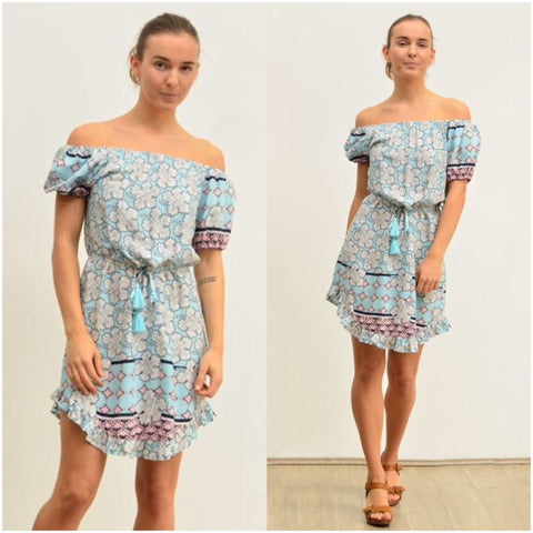 Silver Wishes Leaf Outline Print Frill Hem Dress Blue