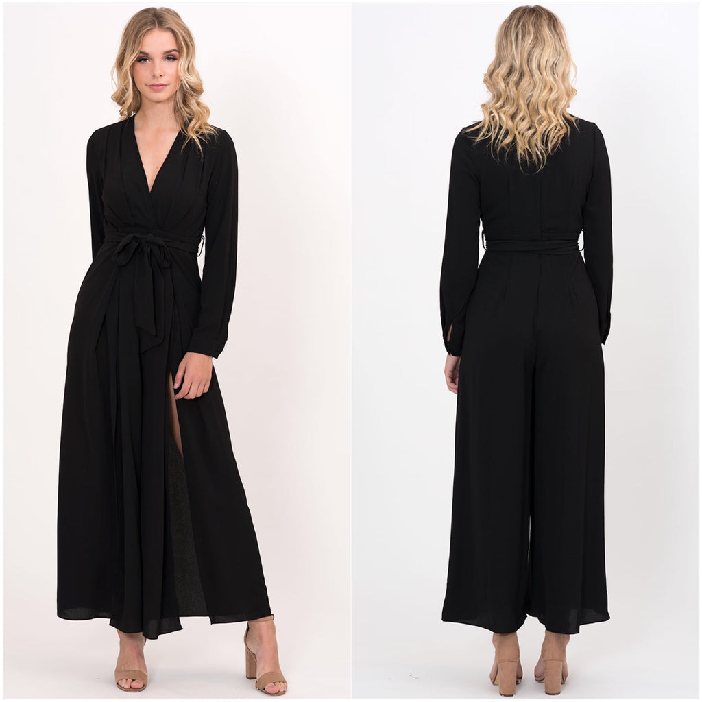 Parisian Long Sleeve Jumpsuit Black