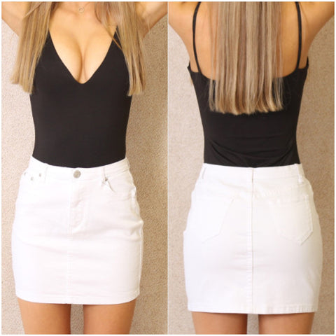 Empire Denim Skirt White