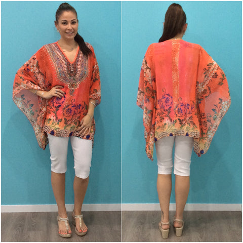 Thera Embellished Abstract Leaf Print Kaftan Coral