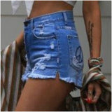 Refuge Peace Pocket Denim Shorts Mid Blue