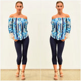 Silver Wishes Floral Striped Lace Cuff Top Blue