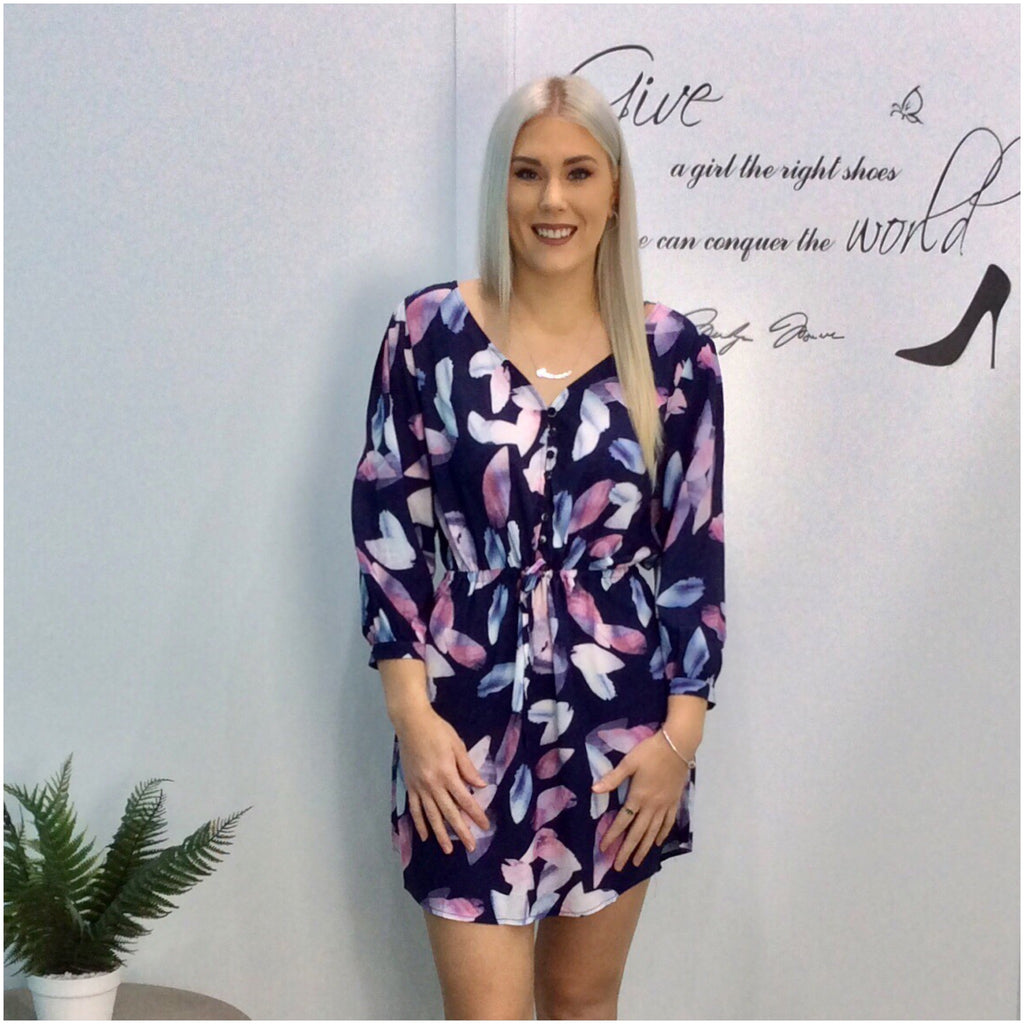Kenzie Abstract Leaf Print Dress