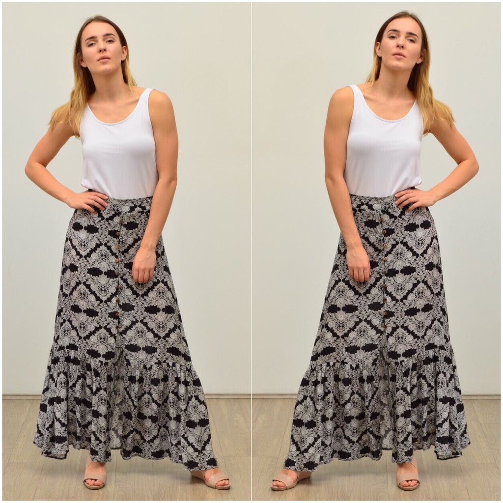 Silver Wishes Button Front Baroque Print Maxi Skirt Black