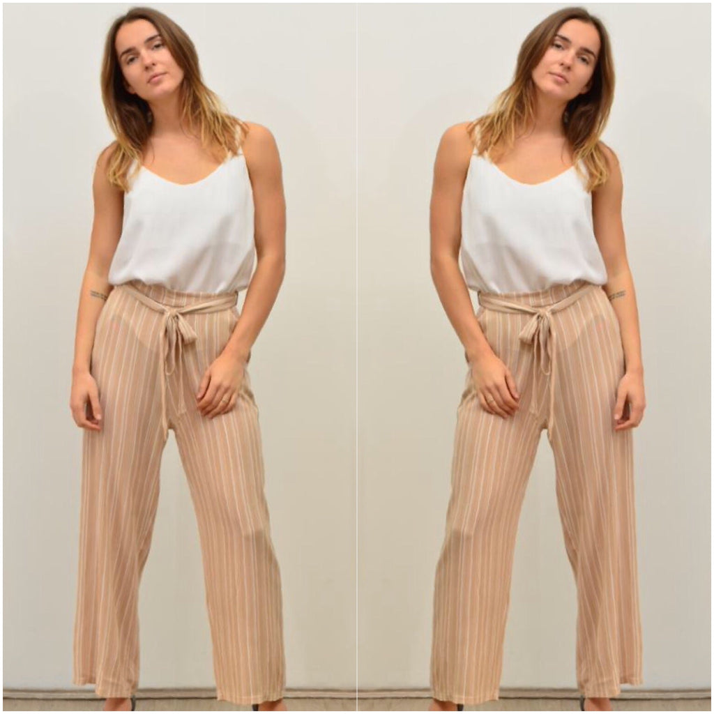 Silver Wishes Striped Palazzo Pants Beige