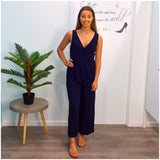 Tania Button Front Jumpsuit Navy