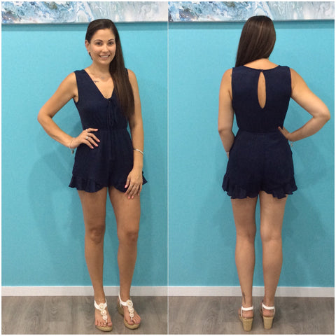 Bondi Tie Front Playsuit Navy